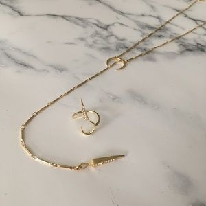 Luv AJ pave moon and tusk ring and necklace set